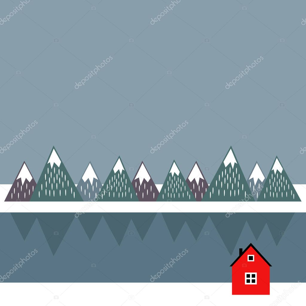 Cute scandinavian landscape with red house, sea and mountains.