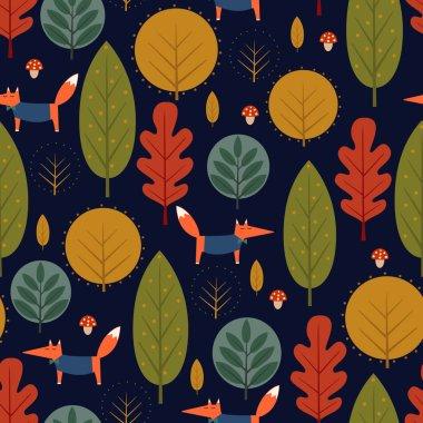 Autumn trees and fox seamless pattern on dark blue background.