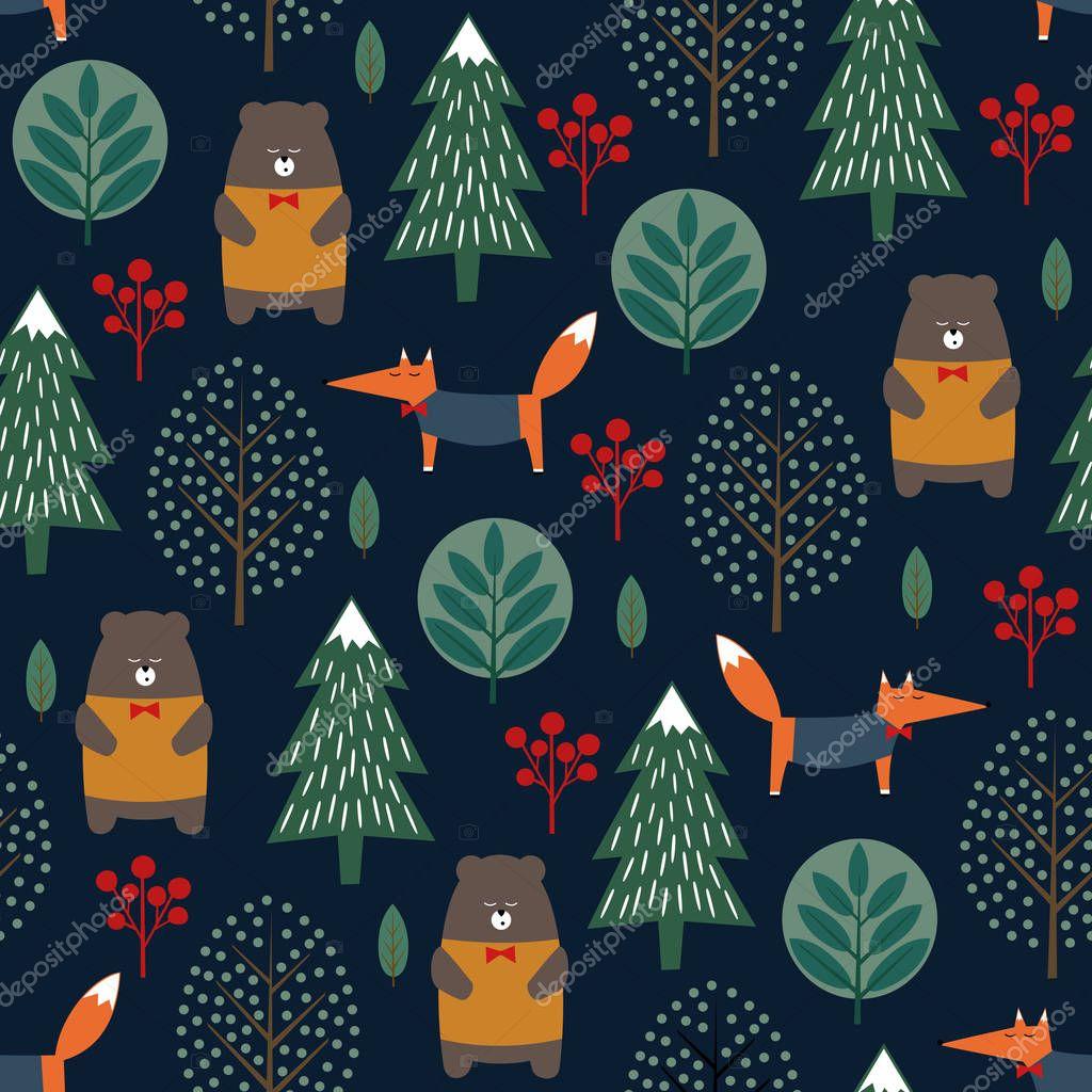Fox, bear, trees seamless pattern on dark blue background.
