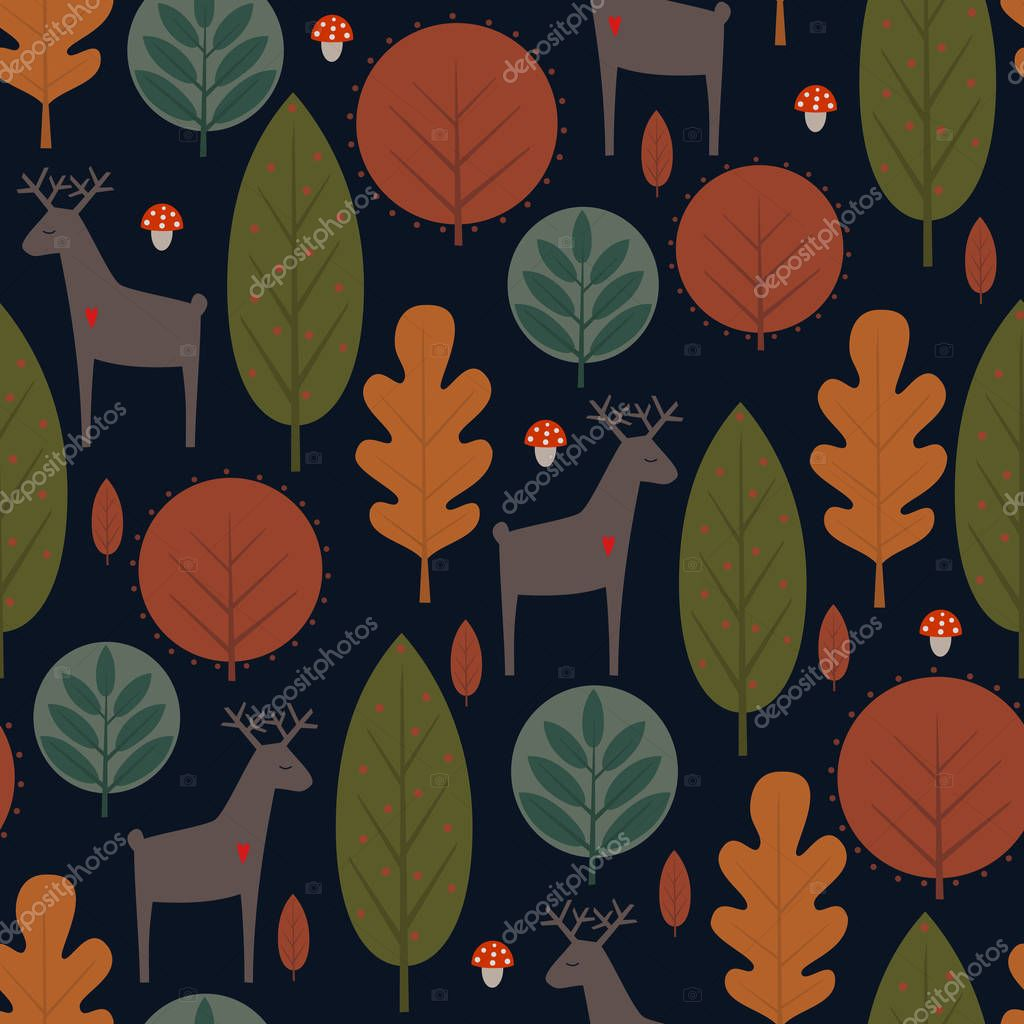 Autumn trees and deer seamless pattern on dark background.