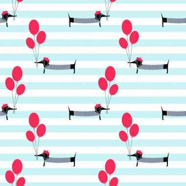 French style dog holding balloons seamless pattern on striped background.