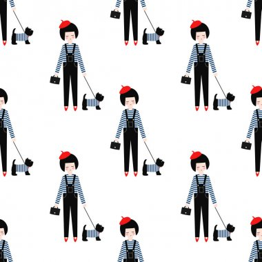 Cute girl with scottish terrier seamless pattern on white background.