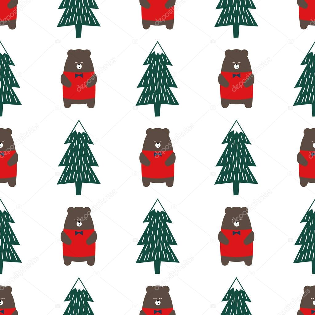 Cute Cartoon Bear And Xmas Tree Seamless Pattern Colorful Forest Background Simple Vector Winter Holidays Design For Textile Wallpaper Wrapping Paper Fabric Decor Premium Vector In Adobe Illustrator Ai Ai