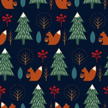 Squirrel in forest seamless pattern on dark blue background.