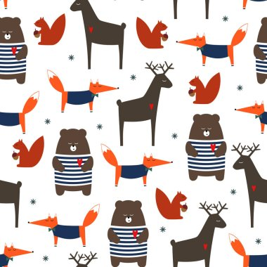 Cute forest animals seamless pattern.