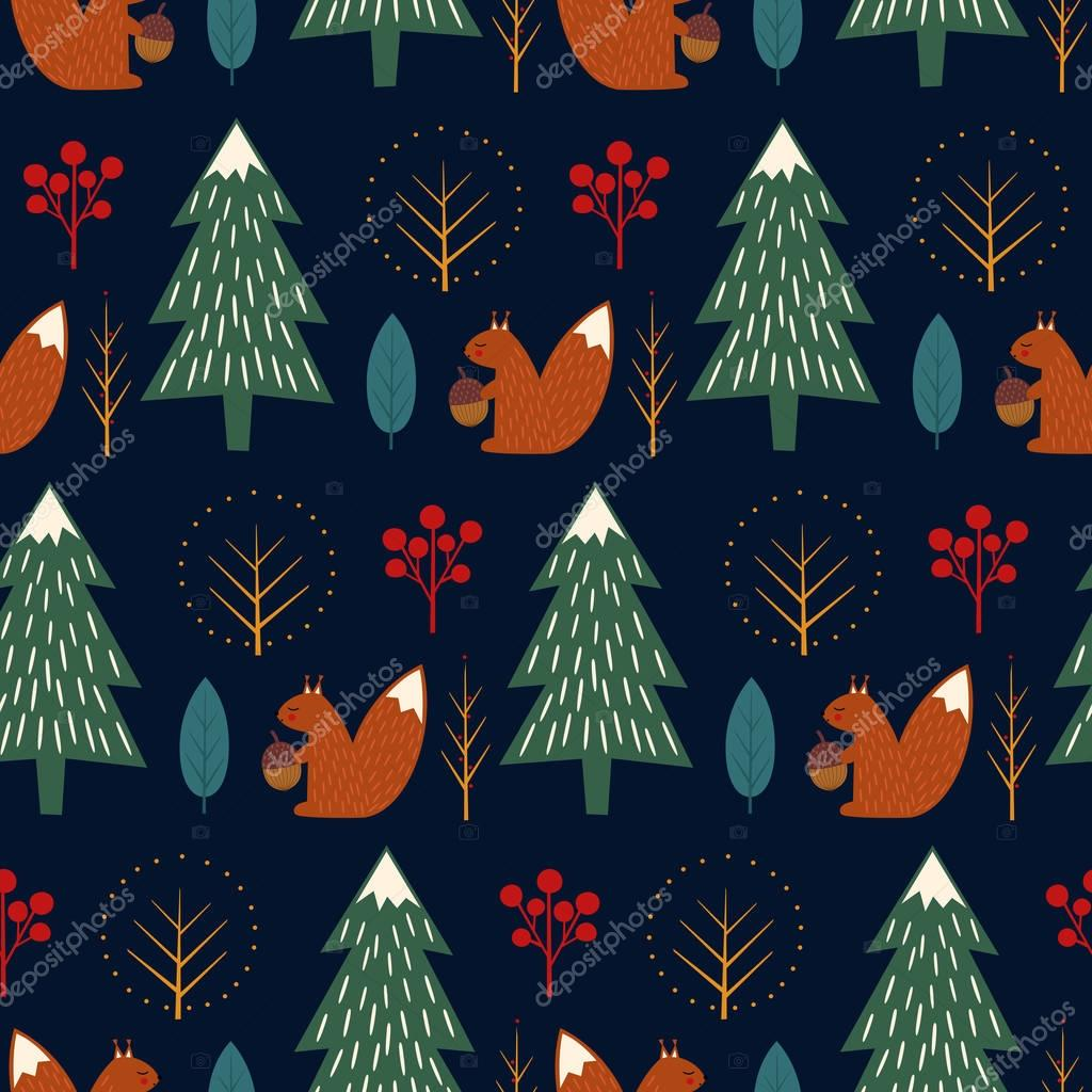 Squirrel in forest seamless pattern on dark blue background.