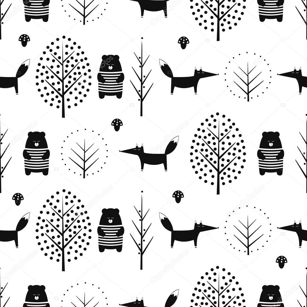 Fox, bear, trees and mushroom seamless pattern on white background.