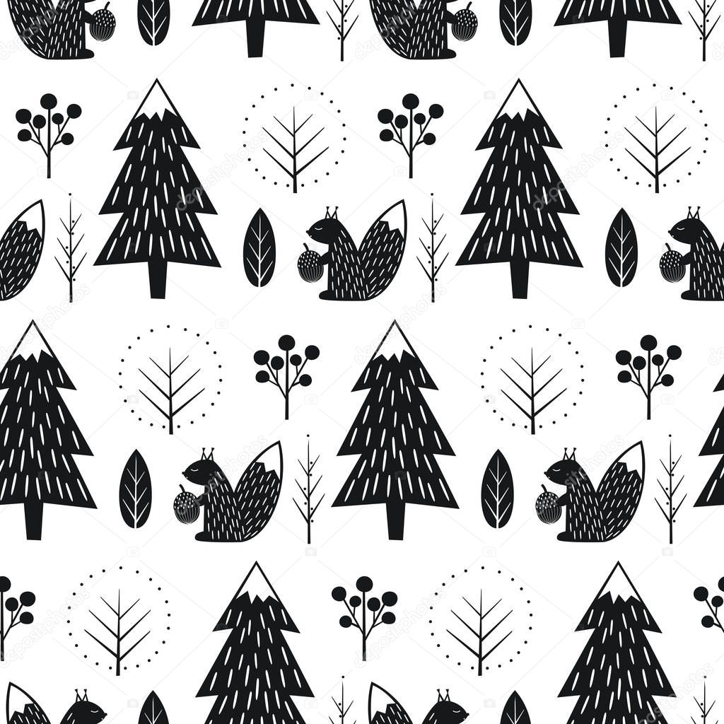 Squirrel in forest seamless pattern.