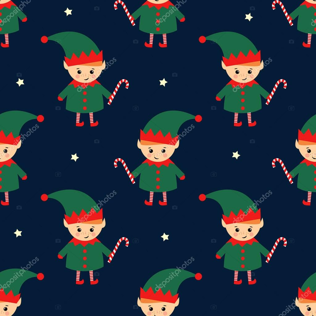 depositphotos 135172392 stock illustration christmas elf with candy cane