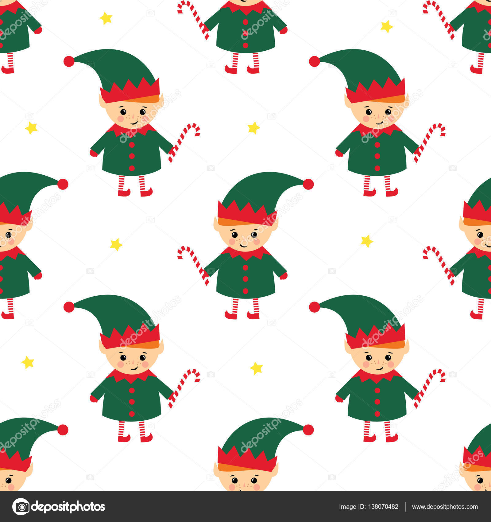 Christmas elf with candy cane seamless pattern on white background ...