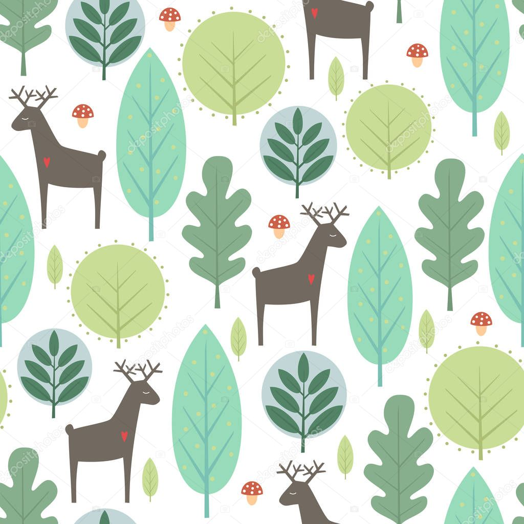 Spring trees and deer seamless pattern on white background.