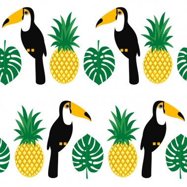 Tropical seamless pattern with toucans, palm leaves and pineapples.