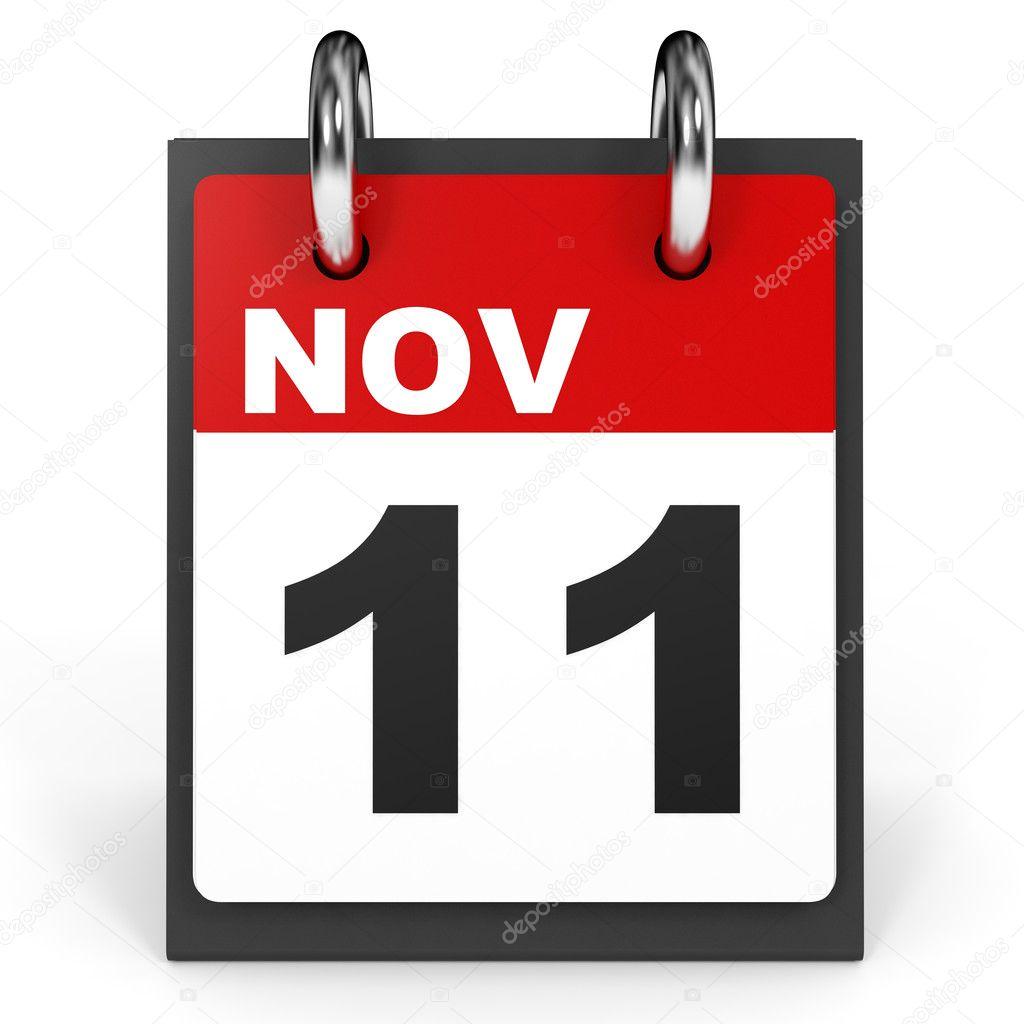 11 november. Kalender op witte achtergrond — Stockfoto