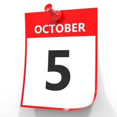 October 5. Calendar on white background.