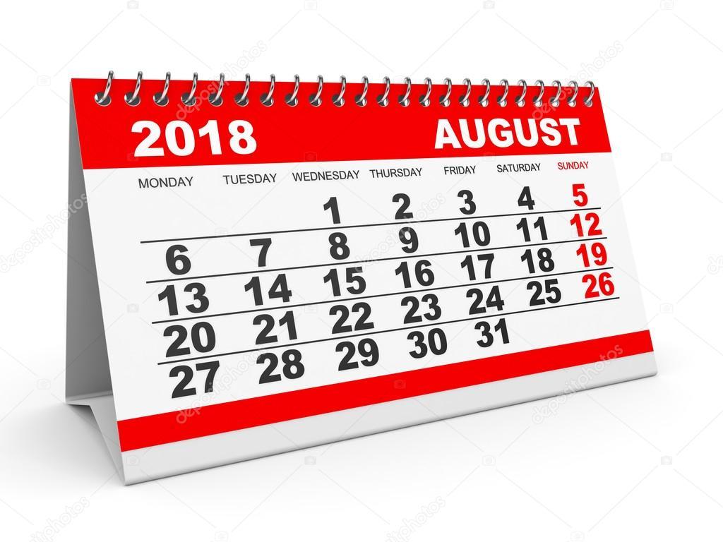 calendar august 2018 on white background stock photo. Black Bedroom Furniture Sets. Home Design Ideas