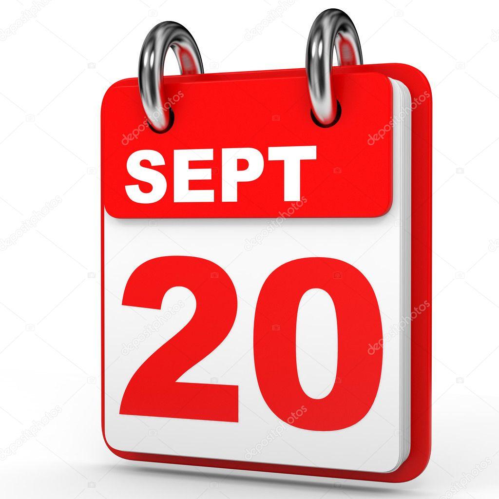 Calendrier 20.Le 20 Septembre Calendrier Sur Fond Blanc Photographie