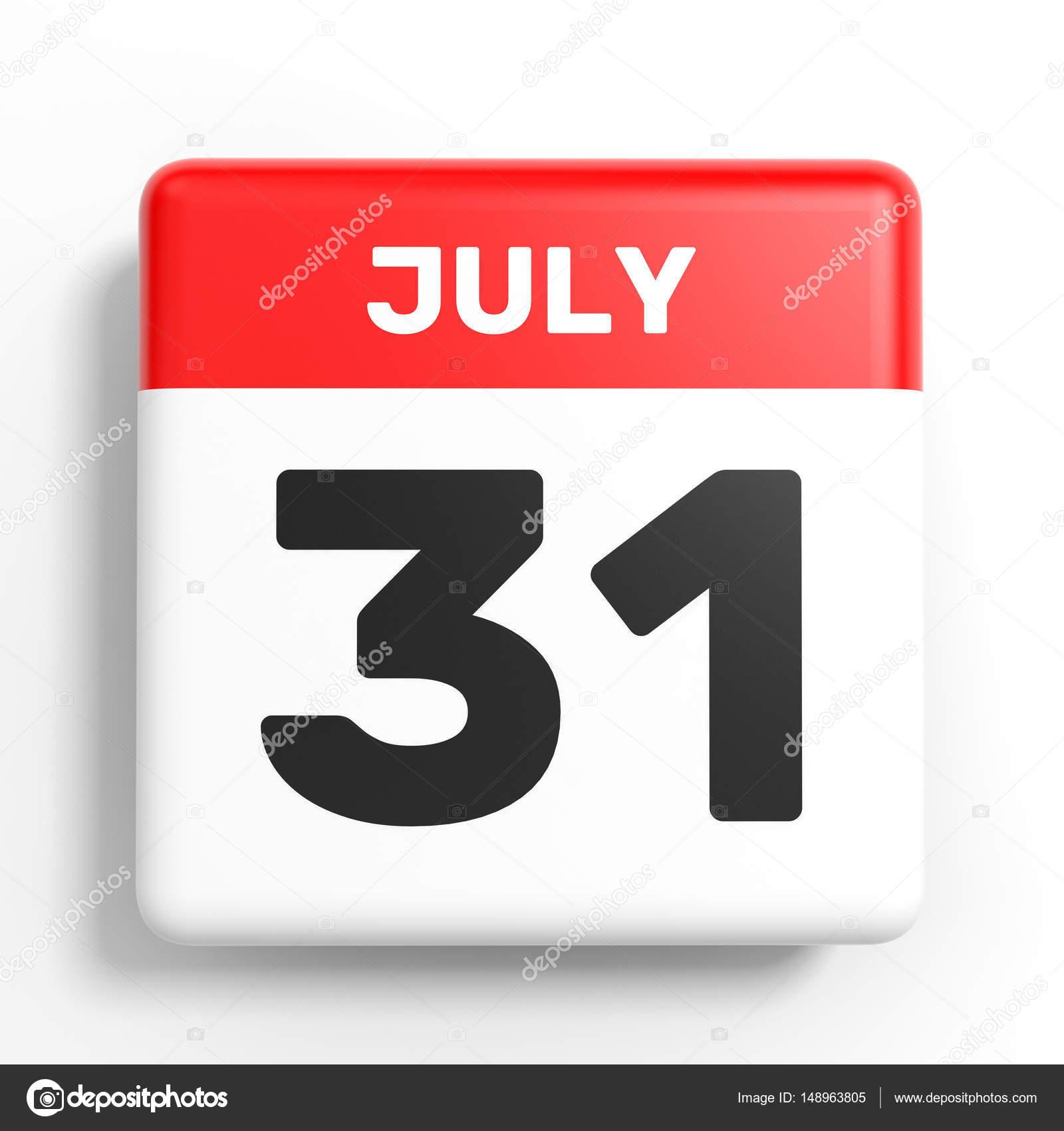 Calendario 31 Luglio.31 Luglio Calendario Su Priorita Bassa Bianca Foto Stock