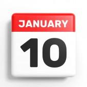 Január 10-én. Naptár, fehér háttér