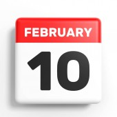 Február 10-én. Naptár, fehér háttér