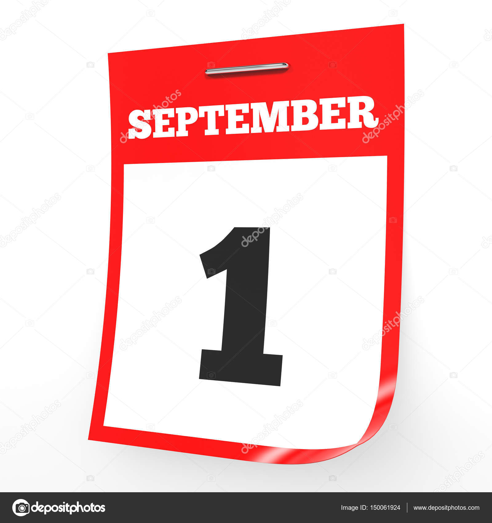 9 月 1 日。白い背景のカレンダ...