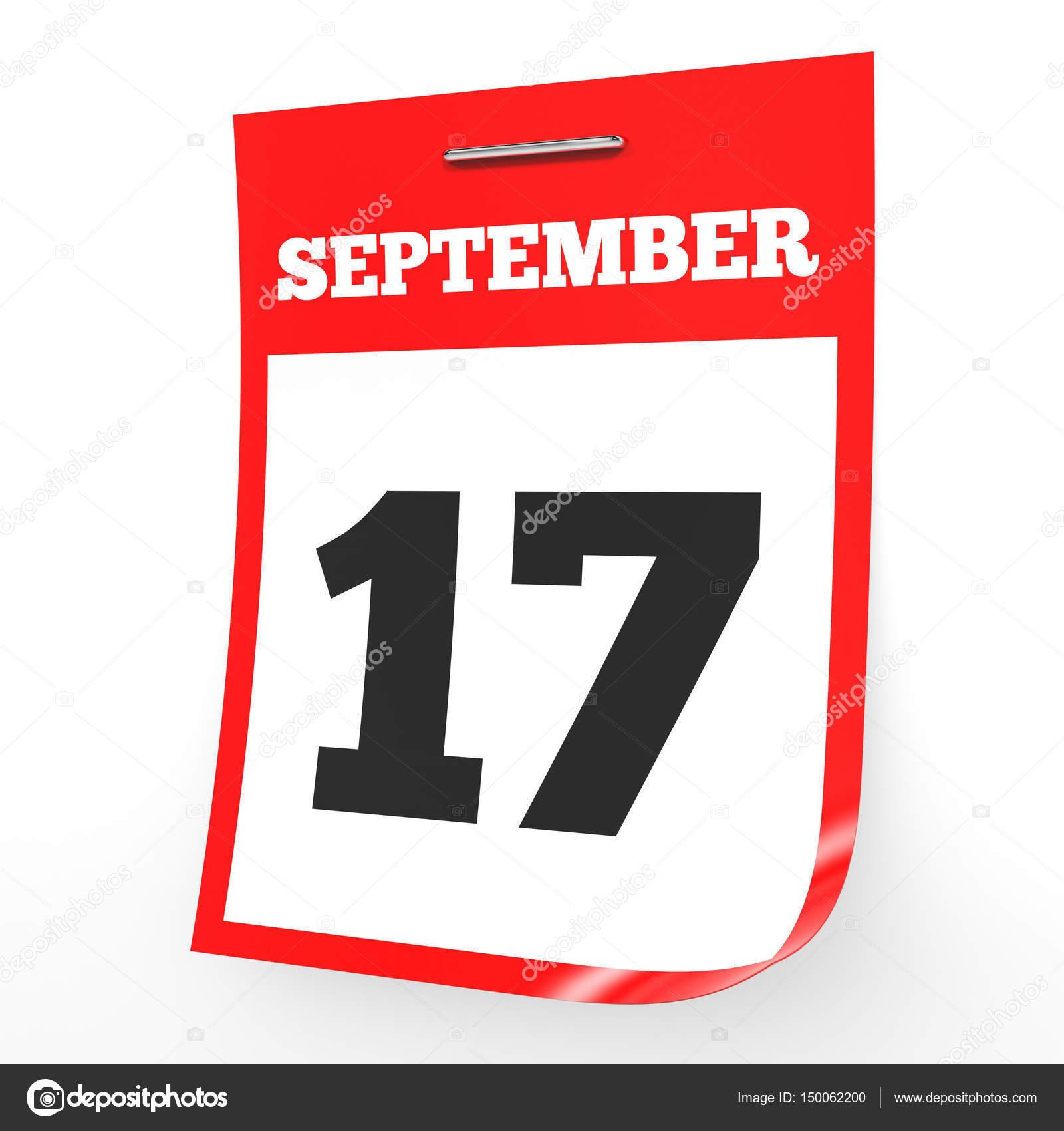 17 de setembro. Calendário em fundo branco — Stock Photo ... d317cc988d