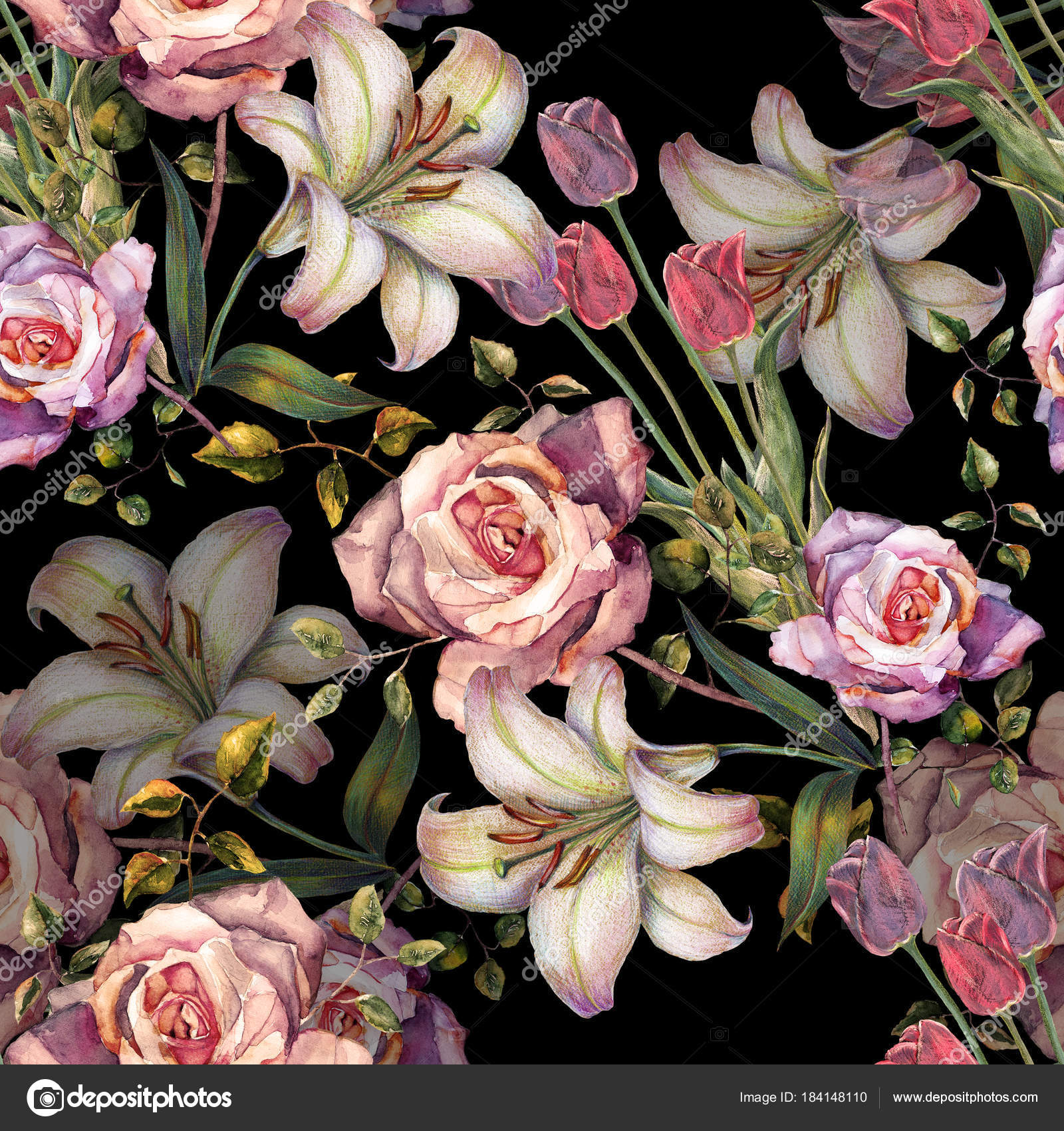 Watercolor Beautiful Bouquet Flowers Black Background Lily Rose