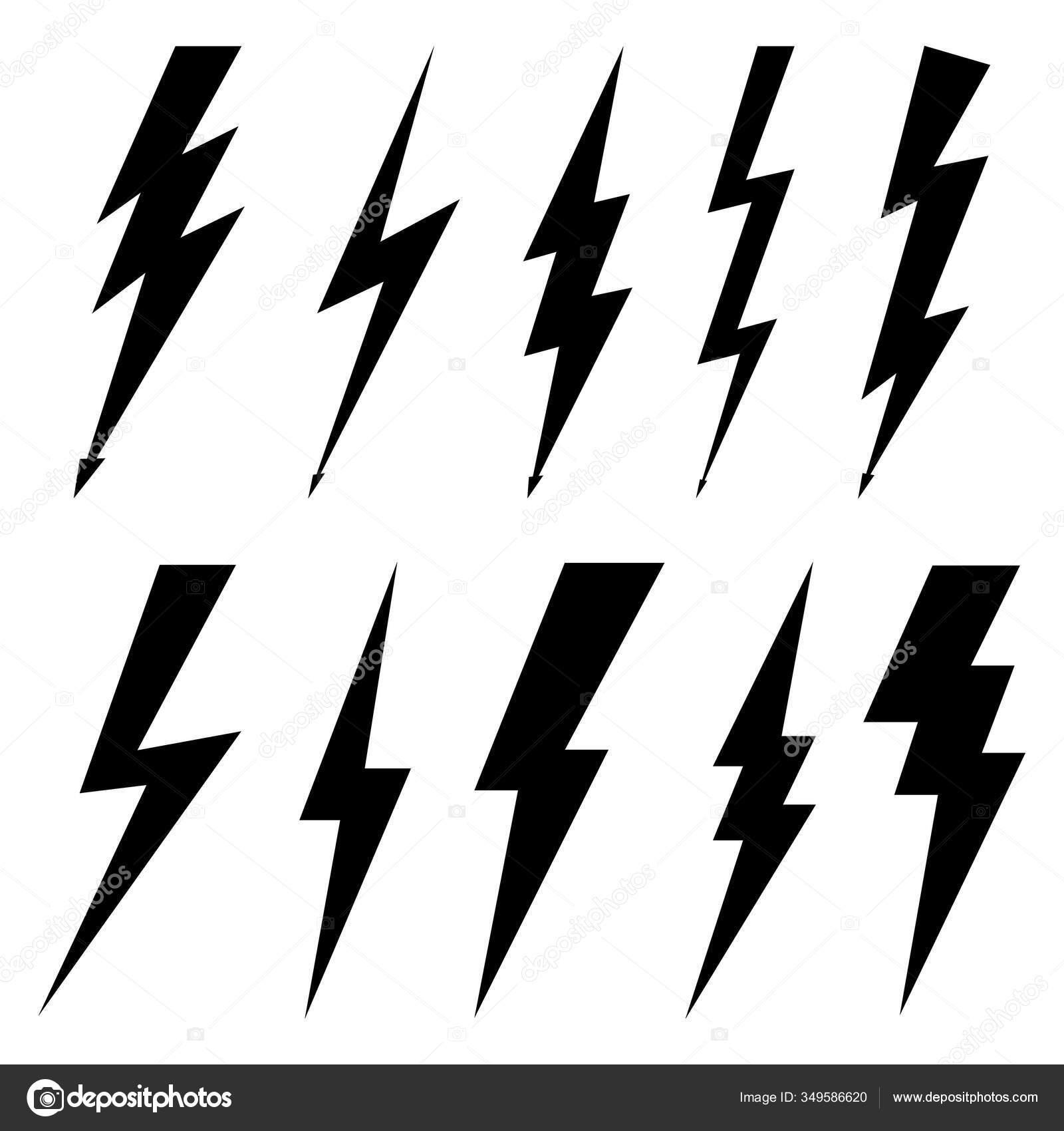 Thunderbolt Icons Isolated White Background Black Silhouettes Flat ...