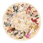 Zodiac circle - complete set of 12 signs. Watercolor Illustration.