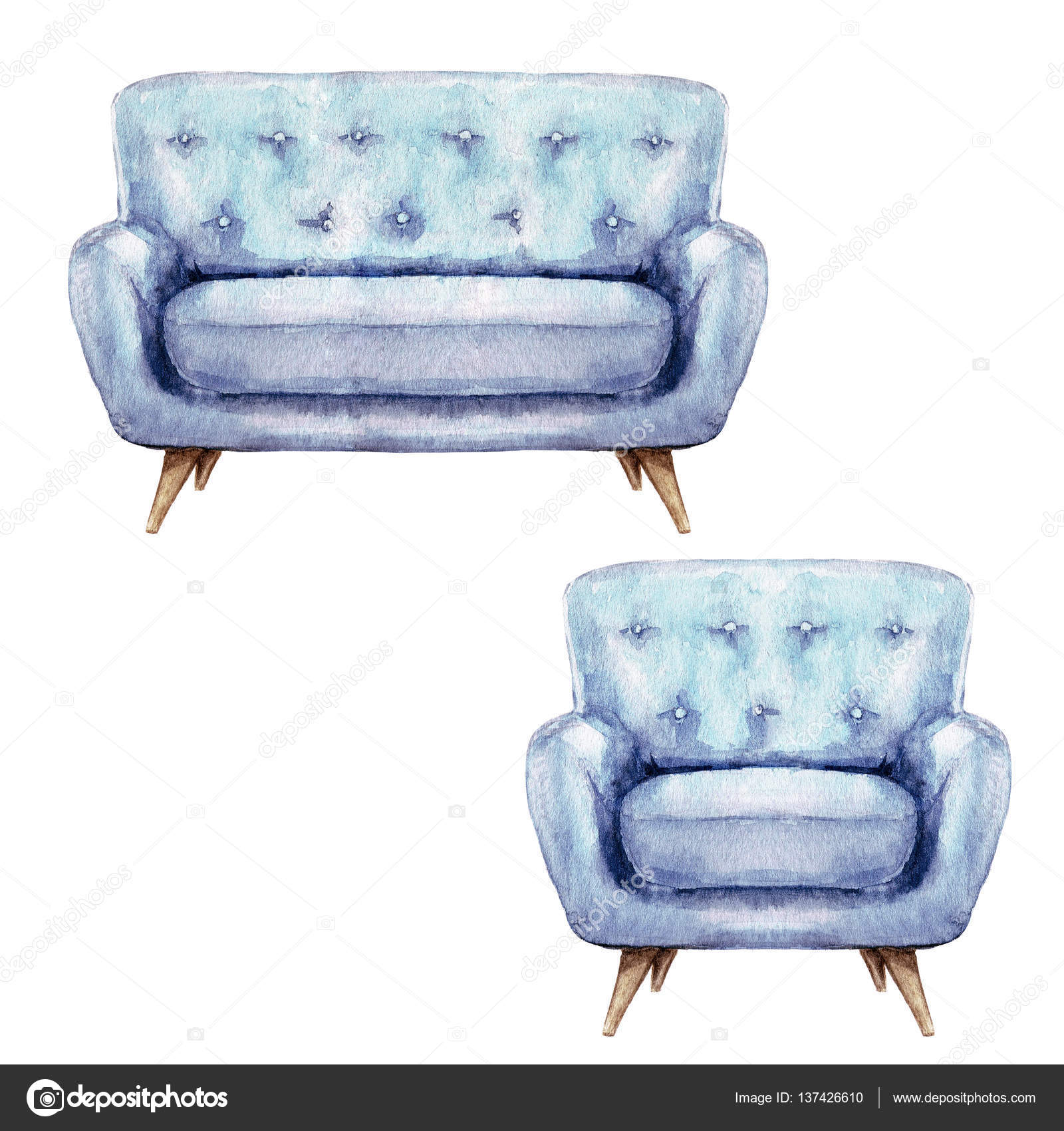 Blue sofa and armchair watercolor illustration stock for Sofa zeichnung