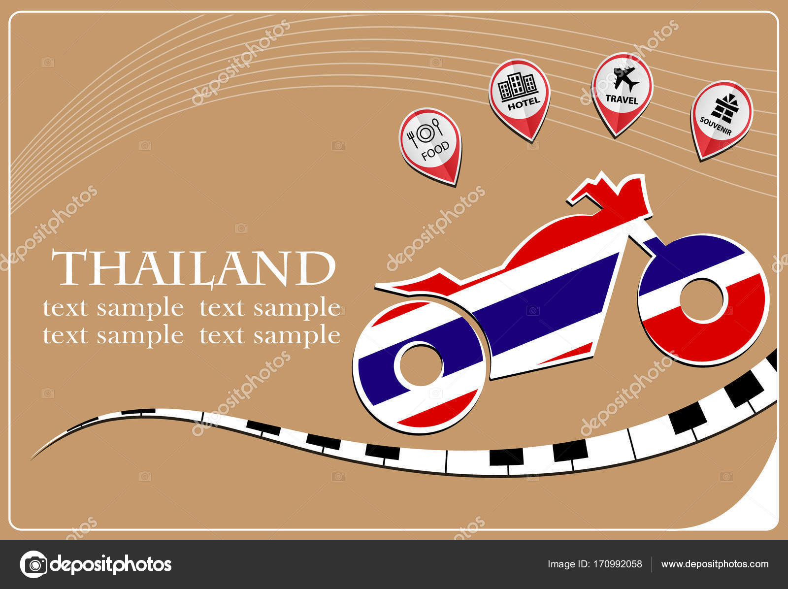 Motorcycle Logo Made From The Flag Of Thailand Stock Vector