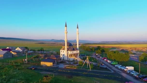 Top view of the beautiful mosque at sunrise. on Ramadan
