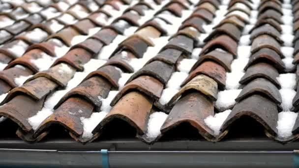 Jaro přišlo, sníh taje, voda teče z kachlové střechy