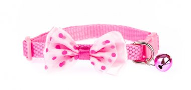 Pink pet collar with polka dots and bow tie isolated on white ba