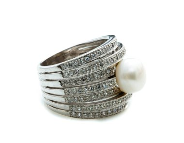 pearl ring on white background