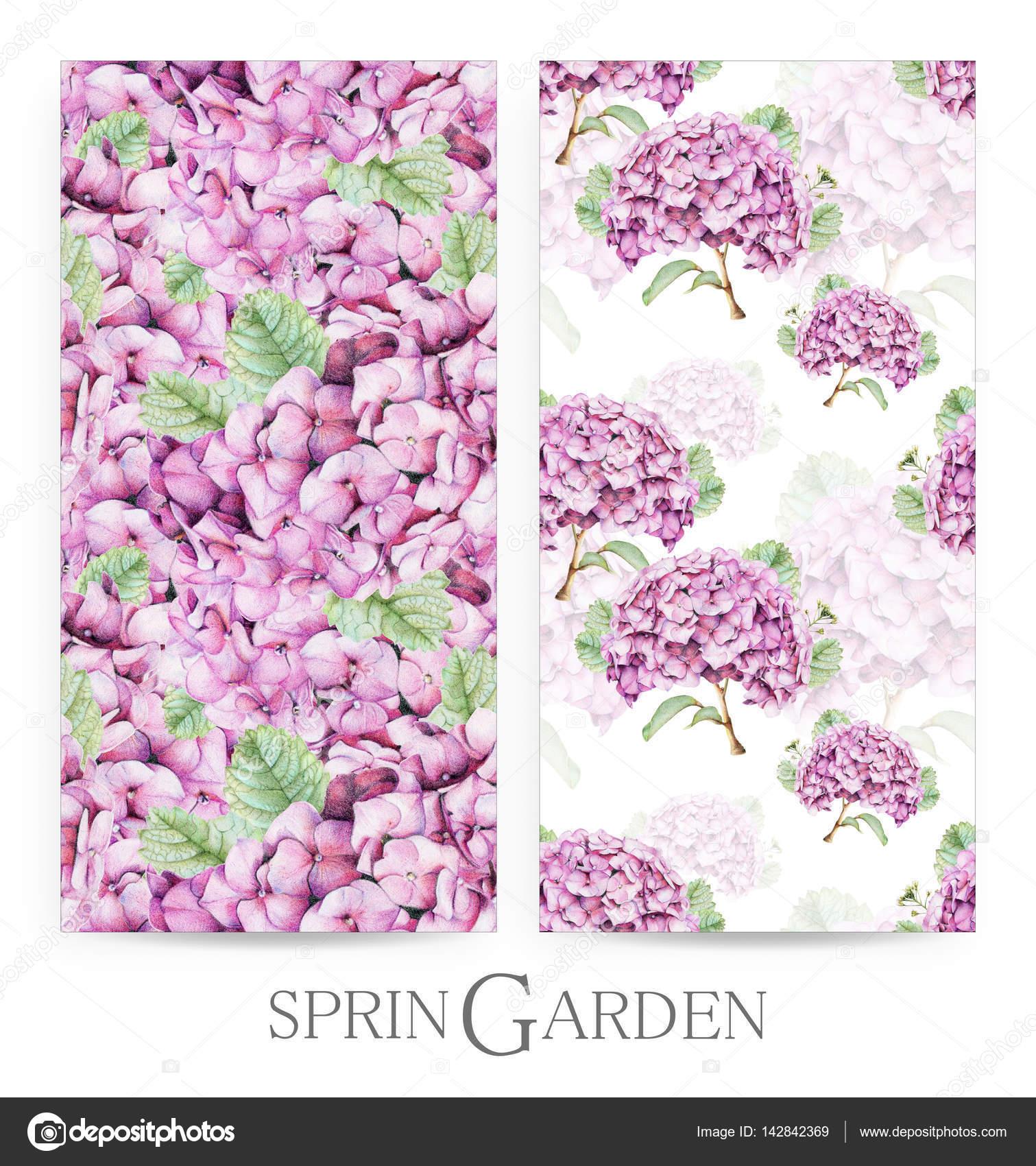 conjunto de patrones sin fisuras con hortensias rosas dibujadas a mano con lpices de colores u foto de