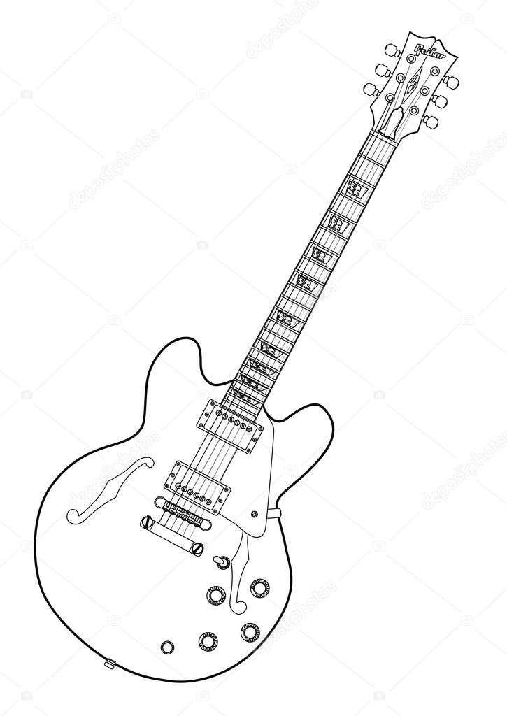 Semi Acoustic Line Drawing Stock Vector C Bigalbaloo 129573370