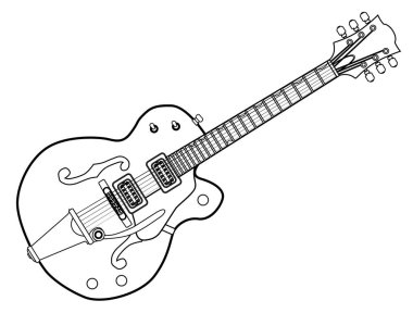 Country and Western Guitar Outline