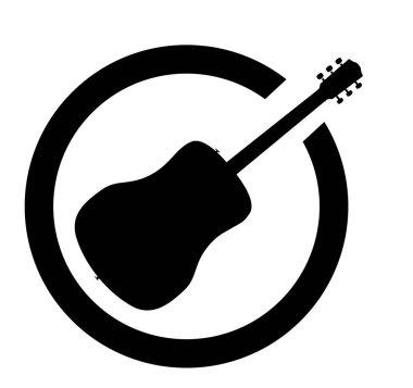Acoustic Guitar Black Ink Stamp