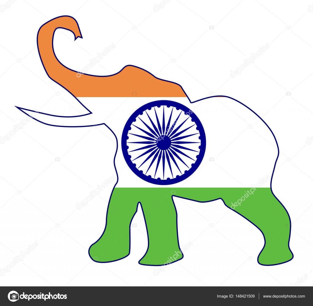 Elefante indio con bandera — Archivo Imágenes Vectoriales ...