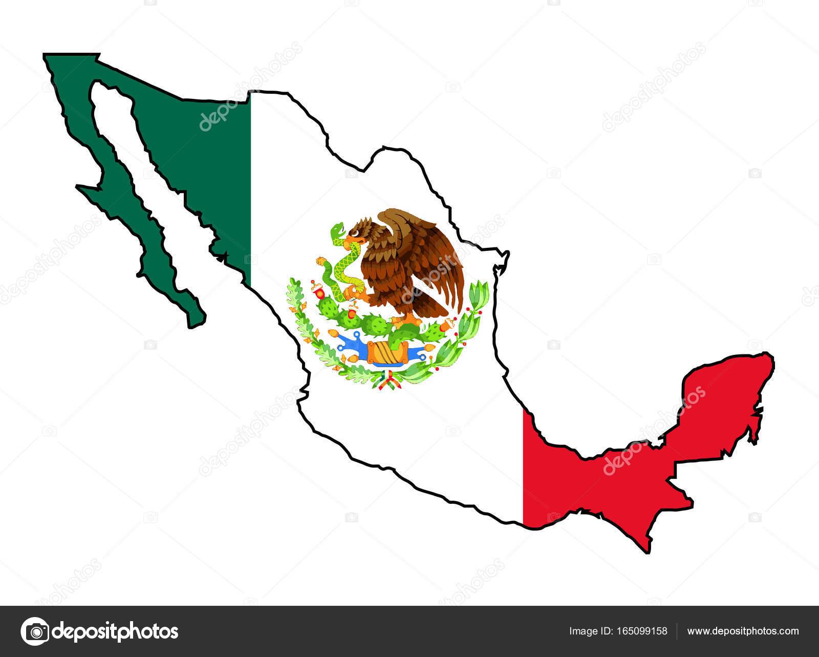 Mexiko Karte Umriss.Mexiko Karte Umriss Und Flagge Stockvektor C Bigalbaloo