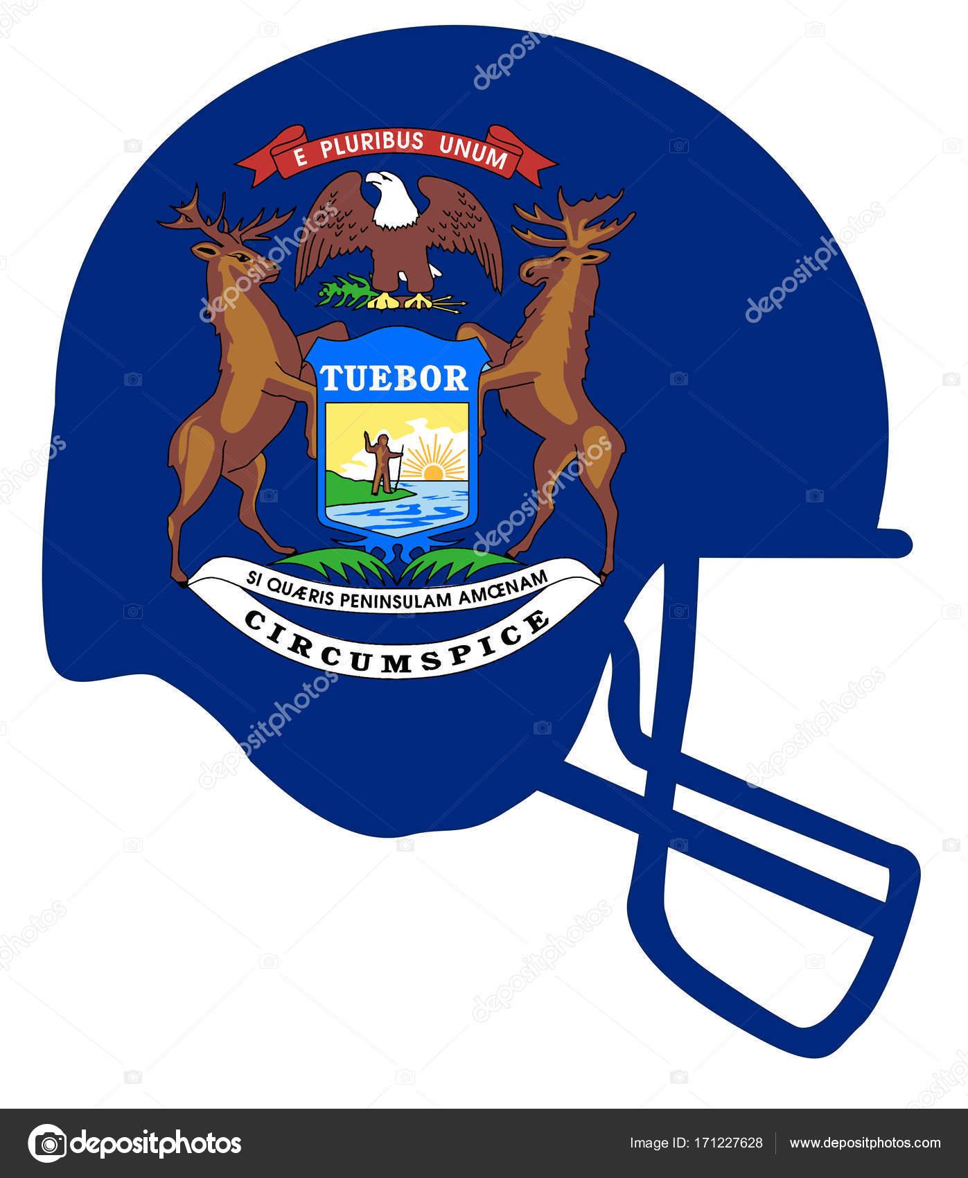 Casco de fútbol americano de bandera de estado de Michigan — Archivo ...
