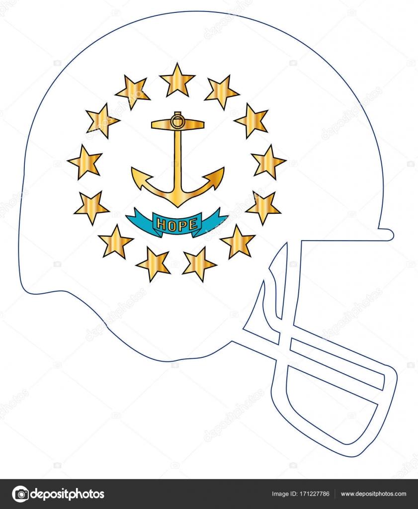 Rhode Island State Flag Football Helmet Stock Vector Bigalbaloo
