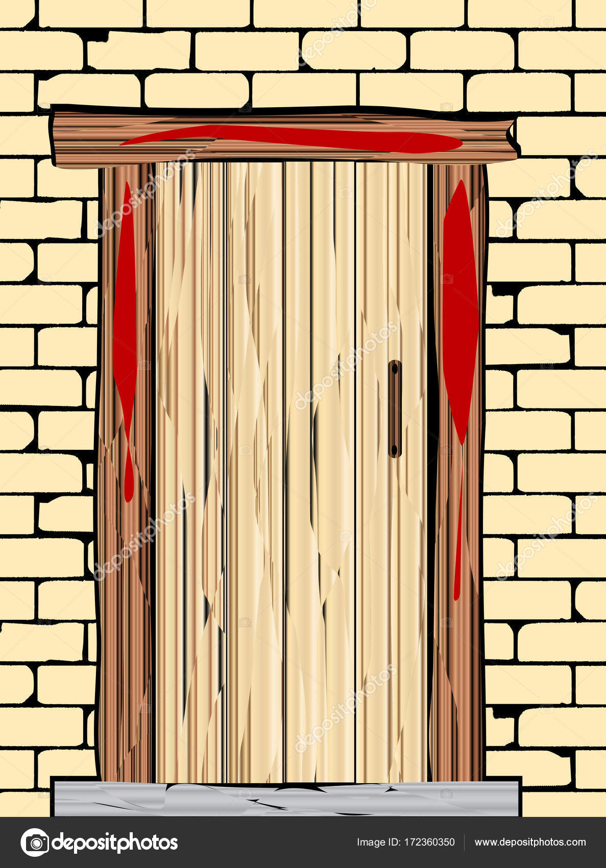 A passover door with blood on the wooden frame \u2014 Vector by BigAlBaloo  sc 1 st  Depositphotos & A Passover Door \u2014 Stock Vector © BigAlBaloo #172360350
