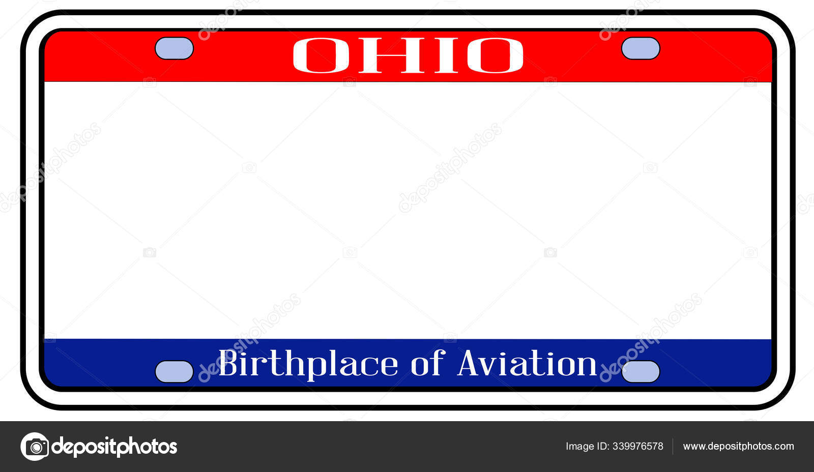 Blank Ohio License Plate Vector Image By C Bigalbaloo Vector Stock 339976578