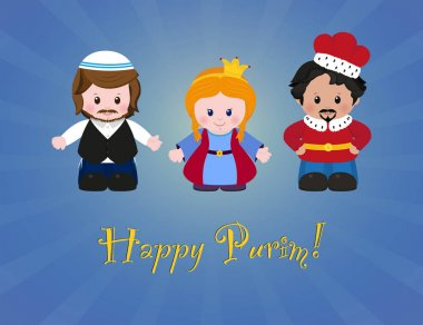 Jewish holiday of Purim. Esther, Mordecai and Achashverosh