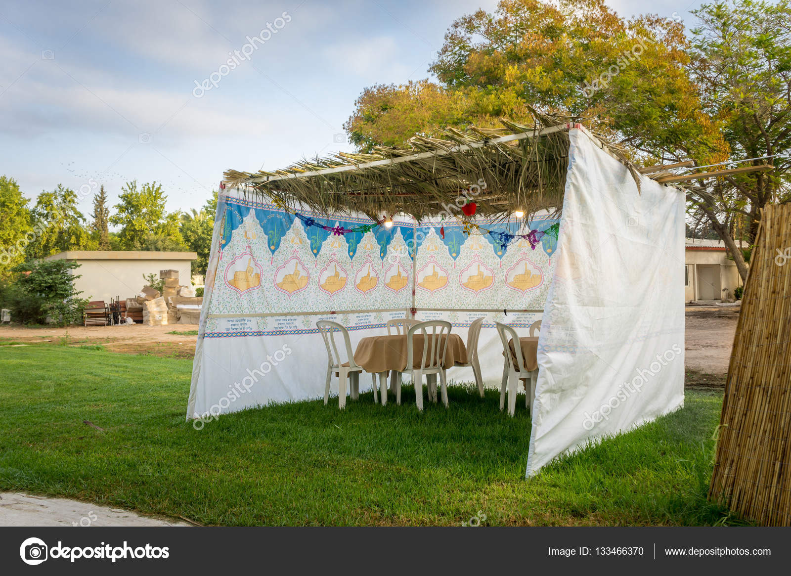 Sukkah - symbolic temporary hut for celebration of Jewish Holiday Sukkot u2014 Stock Photo & Sukkah - symbolic temporary hut for celebration of Jewish Holiday ...