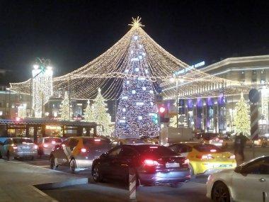 Christmas tree. Christmas trees, festive illumination. Moscow December 2019 Near the metro station Lubyanka and Myasnitskaya street