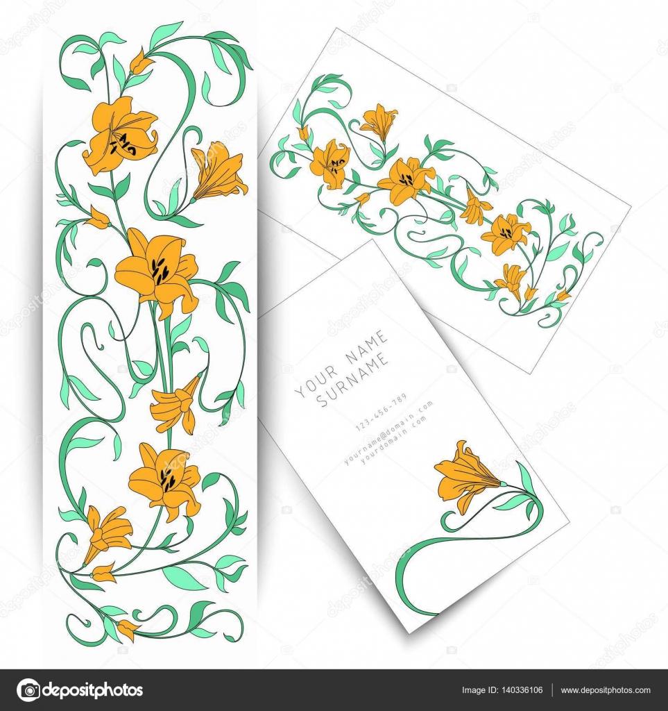 Carte De Visite Dessin Fleurs Nature Vectorielle Image