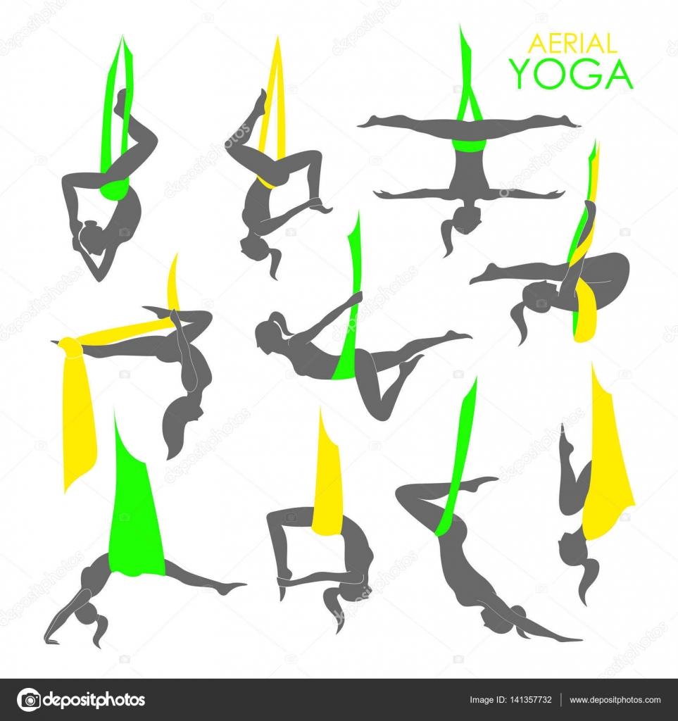 Aerial Yoga Logo Vorlage. Anti-Gravity-yoga — Stockvektor ...