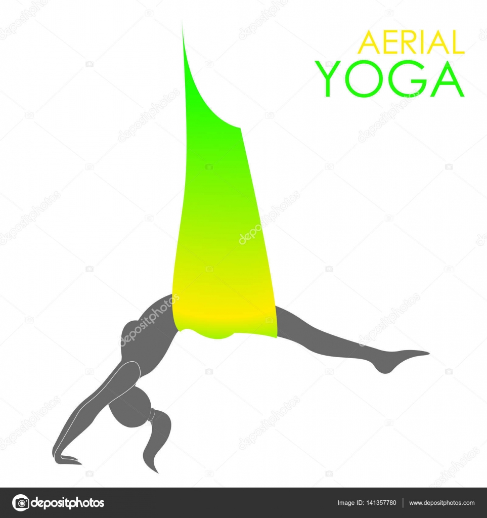 Plantilla de logotipo de yoga aérea. Yoga antigravedad — Vector de ...